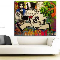 estatuas en casa al por mayor-Alec Monopoly Signo de Dólar Estatua Lienzo Cartel e Impresión de la Lona Pintura Al Óleo Cuadro Decorativo Para la Oficina Dormitorio Decoración Del Hogar Marco HD