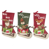 große weihnachtsstrümpfe groihandel-Large Size Christmas Stockings Gift Bags Candy Bags Christmas Tree Ornament Socks Wedding Party Christmas Decoration Xmas Supplies CFYZ328