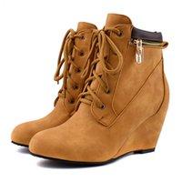 botas us14 venda por atacado-Sapatos por atacado Mulher Botas de Camurça Zipper Tornozelo Botas de Cunha Mulheres Sapatos Botas de Inverno Outono Tamanho Grande Lace-Up Senhoras Botas