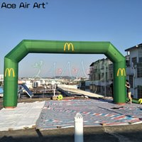 Wholesale discount inflatables resale online - Transfer printed angle arches balloon inflatable start finish line arch balloon full green color advertising event entry on discount