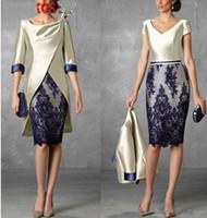 kısa anneli damatlık elbiseler ceketler toptan satış-Gelin Elbise Of Ceket Yarım Kollu Kılıf Abiye Giyim Kısa Anne ile Biçimsel İki adet Dantel Anne Damat Elbiseler