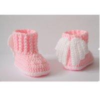 chaussettes bébé chaussures livraison gratuite achat en gros de-livraison gratuite, crochet chaussons pour bébés, chaussures pour bébés, bottes d'hiver, des chaussettes, des ailes, ange, blanc, rose, douche cadeau 10CM 9cm, 11cm