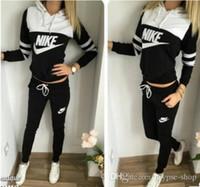 traje deportivo de marca al por mayor-2019 marca chándal mujer traje deportivo con capucha sudadera + pantalón de correr Femme Marque Survetement Sportswear 2pc