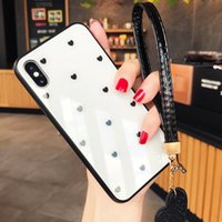 Wholesale iphone 7 case girly online – custom Case Tempered Glass Soft Edge Phone Cases For iPhone X S XR XS Fashion Love Heart Girly Capinha Cover