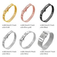 pulseiras de aço inoxidável slides encantadores venda por atacado-1 PCS Pulseira de Aço Inoxidável Pulseira de Moda pulseira Fit Deslize Encantos Letras Homens / Mulher Jóias LSBR01-02