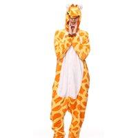giraffen-pyjamas erwachsene großhandel-Neue Tier Pyjamas Erwachsene Anime Pyjamas Sets Cartoon Nachtwäsche Frauen Tier Giraffe Frühling Und Herbst Warme Mit Kapuze Aajamas Set