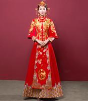 rote chinesische kleidung großhandel-Hochzeit Cheongsam traditionelle chinesische Braut Kleid alte Ehe Kostüm Kleid Kleidung Womens Stickerei Phoenix Red Qipao