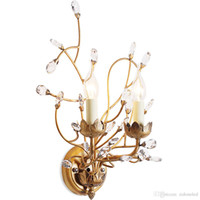 Wholesale bedside lamps iron for sale - Group buy American style branch wall sconce lights iron crystal chandeliers wall lamp E14 lamp holder for Bedside Bedroom Dinning Room Restroom