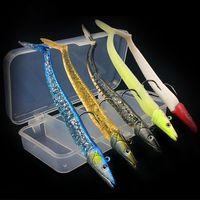 caixas de pesca iscas de equipamentos venda por atacado-1 Caixa + 5-cor 11 cm 10/19 / 22g Leva Ganchos Ganchos De Pesca Anzóis Macio Iscas Iscas Artificiais Isca de Pesca Equipamento De Pesca acessórios