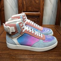 Wholesale high ankle martin boots for men for sale - Group buy New Rivoli Sneaker Boot Mens Classic Rainbow Monogram High Top Sneakers Luxury Designer Trainers for Men Outdoor Hiking Climbing Prism Shoes