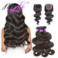 tipos de cabelos indianos venda por atacado-Remy Cabelo Weaving Extensão Tipo Raw Não Transformados Indiano Virgem Do Cabelo da Onda Do Corpo Do Cabelo Três Feixes com Fecho