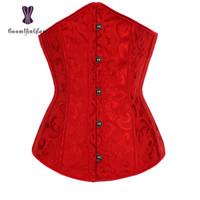 corset shaper todos os dias venda por atacado-Jacquard Top Korsett Mulheres Shaper Diário Shapewear Bodysuit Cintura Cinchers Espartilhos Com Corda G 2833 # J190701