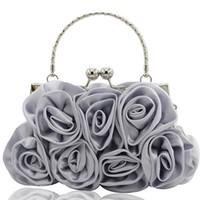 Wholesale lady rose wedding dress resale online - Girls Shoulder Bag Satin Rose Pure Color Wedding Women Handbag Evening Lady Bags Dropship bolsa feminina sac a main Zer