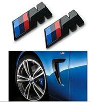Wholesale black m5 badge resale online - 20pcs BMW M Black Skirt Side Badge Fender Emblems Sticker BMW M For M M1 M3 M5 mm