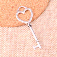 Wholesale tibetan heart charms jewelry making resale online - 28pcs Charms skeleton heart key mm Antique Making pendant fit Vintage Tibetan Silver DIY Handmade Jewelry