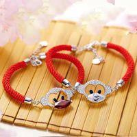 bracelete de corda vermelha venda por atacado-Red Monkey Rope Casal bonito pulseiras cristal de alta qualidade Mulheres Pulseira Roupa Acessórios para o Natal em uma data