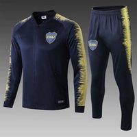 futbol uzun pantolon erkekler toptan satış-Sıcak! 19 20 Boca Juniors Futbol Eşofman Derin Mavi Kazak Pantolon Erkekler Tam Kollu Futbol Eğitimi Takım Tay Kaliteli Kazak Uzun Pantolon