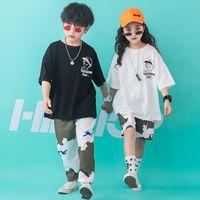 meninas camuflagem shorts venda por atacado-Kid Hip Hop Camuflagem Solto Casual Calças Calças de Grandes Dimensões T Camisa Tops para Meninas Meninos Traje de Dança Roupas de Salão de Baile