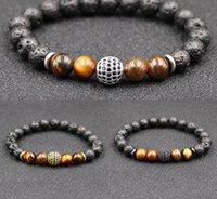 importierter stein großhandel-2019 mode Ceative 8mm Vulkangestein Armreif Importiert Tigerauge Armband Perlen Naturstein Armband Gewebt Armband Für Frauen M473A