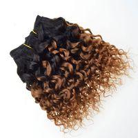ingrosso tessuto acuto di ombre-Capelli corti Bob capelli umani vergini ricci T1B / 30 # Ombre Estensioni capelli biondi Afro crespi ricci tessuto brasiliano fasci di capelli
