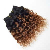 weben kurze bob großhandel-Kurze Bob Virgin Echthaar Lockige Webart T1B / 30 # Ombre Blonde Haarverlängerungen Afro Verworrene Lockige Brasilianische Haarwebart Bundles