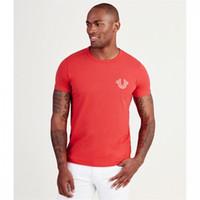 kırmızı beyaz siyah kıyafetler toptan satış-Gerçek erkek tasarımcı t shirt Kırmızı beyaz siyah mavi Tee Yaz lüks elbise Erkek Moda DİNİ T-shirt Erkek Tees% 100% Pamuk Asya boyutları