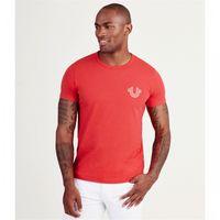 camisas de diseñador rojas hombres al por mayor-Verdaderas camisetas de diseñador para hombre Rojo blanco negro azul Camiseta Ropa de lujo de verano Moda de hombre Camiseta RELIGIONING Camisetas masculinas 100% algodón Tallas asiáticas
