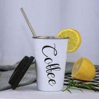 tapa de la taza de café blanco al por mayor-Acero inoxidable Negro Blanco silicona tazas de café Vaso Copa de la mano con la tapa de paja tazas de té de leche Inicio Regalo de la escuela de la oficina tazas de la manga de la Copa