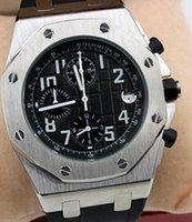 relógios precisos venda por atacado-Royal Oak Offshore Precise Quartz Chronograph Exquisite Mens Watch Watches cronômetro 42MM mostrador preto com pulseira de borracha preta