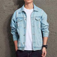 Wholesale male fashion jackets resale online - Mens Denim Jacket Fashion Hip Hop Streetwer Long Sleeve Ripped Denim Jacket Mens Jeans Male Cowboy Coats