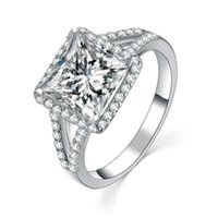 Wholesale solid 14k rings for sale - Group buy Test as Real F VS1 Solid K White Gold Jewelry Princess Ring CT Moissanite Engagement Princess Diamond Ring for Women k Gold