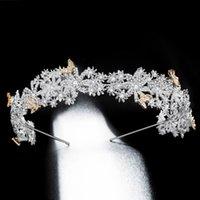 ingrosso fiori di vite di farfalla-L'oro dei capelli farfalla di cristallo fiori vite di cerimonia nuziale Hairbands accessori nuziali dei capelli Copricapo Donne Fasce di lusso barocco