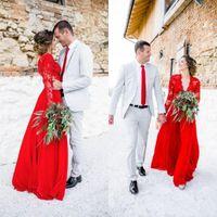 red nude illusion dress 도매-환상 긴 소매 레드 웨딩 드레스 2020 새로운 디자인 맞춤 제작 V 넥 비치 스타일 보헤미안 - 라인 레이스 신부 드레스 Vestido 드 Noiva W1500