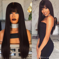 Wholesale 32 inch human hair wigs resale online - perruque Mongolian Virgin Hair cheveux humain full lace wigs Human Hair Lace Front Wig Silky Straight Glueless Wig