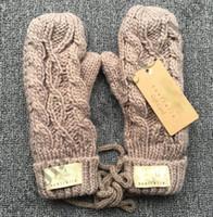 Wholesale girls glove for sale - Group buy Australia Brand ug Mittens Winter Knitted Gloves Women Twisted Knit Gloves Girls luxury warm Fleece Snow Ski glove Mitten colors C91001