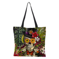 Wholesale custom linen bags resale online - custom made Floral Skull Customized Tote Bag Linen Handbags for Women Lady Eco Reusable Shopping Bags Traveling cm cm