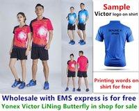 ems kıyafeti toptan satış-Bedava Toptan EMS, ücretsiz, yeni badminton gömlek elbise masa tenisi T spor gömlek elbise B015 için metin baskı