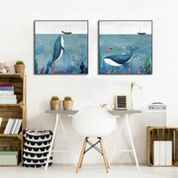 Wholesale watercolor paintings children resale online - Cartoon Watercolor Whale Fish Girl Boat Posters and Prints Art Canvas Painting Home Decoration Wall Pictures Children Nursery