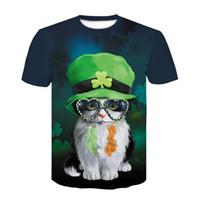 erkekler komik gözlükler toptan satış-Yeni Moda İrlanda Sevimli Gözlük Kedi T-shirt Kadın Erkek Yaz Unisex Komik 3d Baskı Kısa Kollu Crewneck Casual Tops Hip Hop Q411