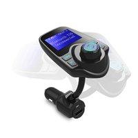 bluetooth auto lcd al por mayor-T10 Transmisor de FM Inalámbrico Bluetooth Modulador de manos libres Equipo para auto Reproductor de audio MP3 para auto Cargador de auto USB con pantalla LCD