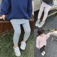 dab29fd8a7b WLG girls spring autumn fake two pants kids casual all match gray dark grey  pink trousers baby girls clothes 2-7 years old