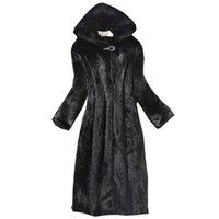 ingrosso cappotto di pelliccia di mink della donna-2018 Autunno Inverno Nuove donne cappotto di pelliccia finta visone cappotto lungo berretto a vento Europa e gli Stati Uniti di grandi dimensioni caldo