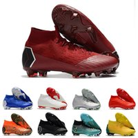 Wholesale mercurial white gold resale online - University Red Lime Green Mercurial Superfly Mens Soccer Cleats Breathable CR7 Ronaldo Neymar FG Football Boots Soccer Shoes Chaussures