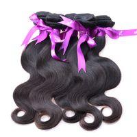 trames de cheveux 6a achat en gros de-4 Bundles Brazilian Body Wave 6a Grade Cheveux Vierges Brésiliens Bundle Bundle Offre un vierges cheveux non transformés tissant des trames de cheveux
