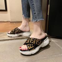 sandalias de moda de la cruz al por mayor-Estilo simple de moda de verano sandalias de las mujeres ocasionales gruesos suelas cruzadas de punta abierta baño playa cuña zapatillas mulas diapositivas desgastan zapatos