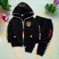 ingrosso pantaloni della striscia della tigre-KZ Kids Cardigan Coats Pants 2Pcs / set 1-4T Bambini Sport Sets Rainbow Zipper manica lunga colorato Stripe Tiger Logo Summer Suit