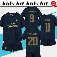 Wholesale real madrid new soccer jersey for sale - Group buy 2020 Kids Kit Real madrid away Blue soccer Jerseys new season HAZARD BENZEMA Child football uniforms Customized jersey shorts