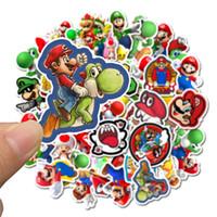 pc için oyun yastığı toptan satış-Dizüstü Kaykay Pad Bisiklet Motosiklet PS4 Telefon Bagaj Çıkartması Pvc gitar Stickers için 50 adet / torba Araba Etiketler Oyun Süper Mario Karikatür