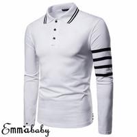 schwarze langarm muskel t-shirts großhandel-Mens Luxury Solide Long Sleeve Gestreiftes Hemd Slim Revers Fit Lässige Golf Bluse Basic Tops Kleidung Muscle Tee Schwarz Grau Weiß