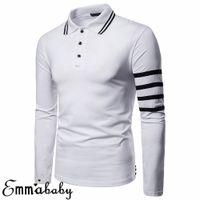 черный полосатый тройник с длинным рукавом оптовых-Mens  Solid Long Sleeve Striped Shirt Slim Lapel Fit Casual Golf Blouse Basic Tops Clothing Muscle Tee Black Gray White